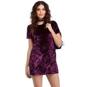 Windsor Purple Short Sleeve Velvet T-Shirt Dress